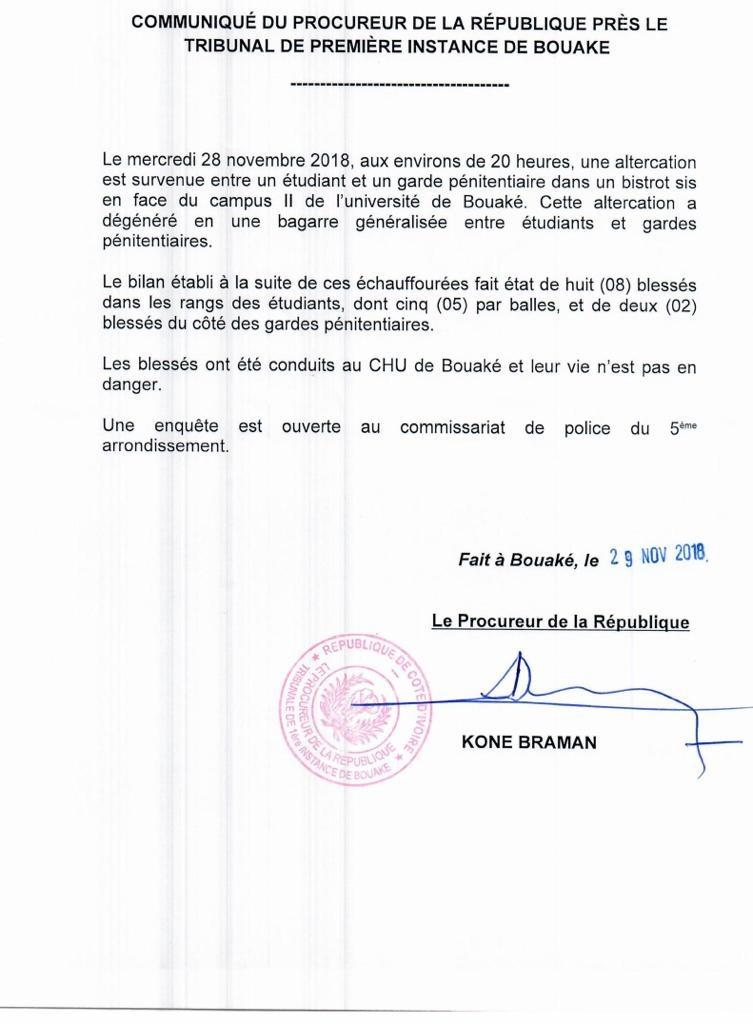 Le communiqué du procureur de la République sur les évènements de Bouaké du 28 novembre.
