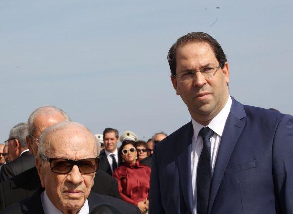 Le President tunisien Beji Caid Essebsi et le premier ministre Youssef Chahed en octobre 2018