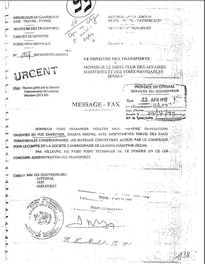 Mesures d'immobilisation des bateaux par les autorités camerounaises.