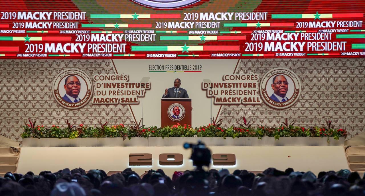 Macky Sall, lors de son investiture comme candidat à la présidentielle de 2019 par la coalition Benno Bokk Yakaar, le 1er décembre 2018 au Dakar Arena.