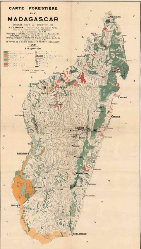 Carte forestière de Madagascar en 1931, conservée à l'IGN.