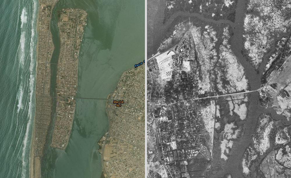 Le littoral sénégalais d'hier à aujourd'hui, avec une photo conservée par l'IGN.
