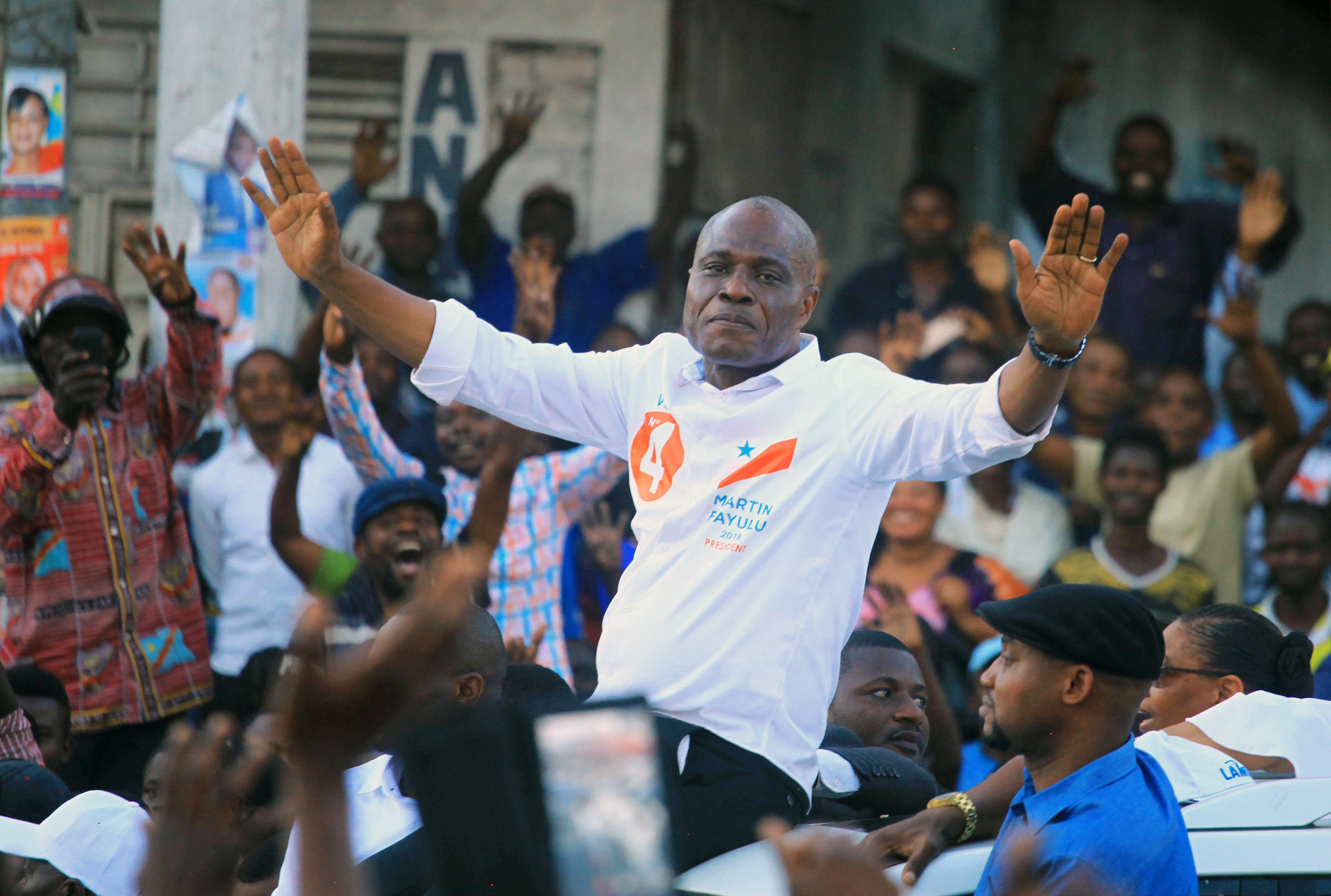 Martin Fayulu, candidat de la coalition Lamuka à la présidentielle en RDC, le 6 décembre à Goma, dans le Nord-Kivu.
