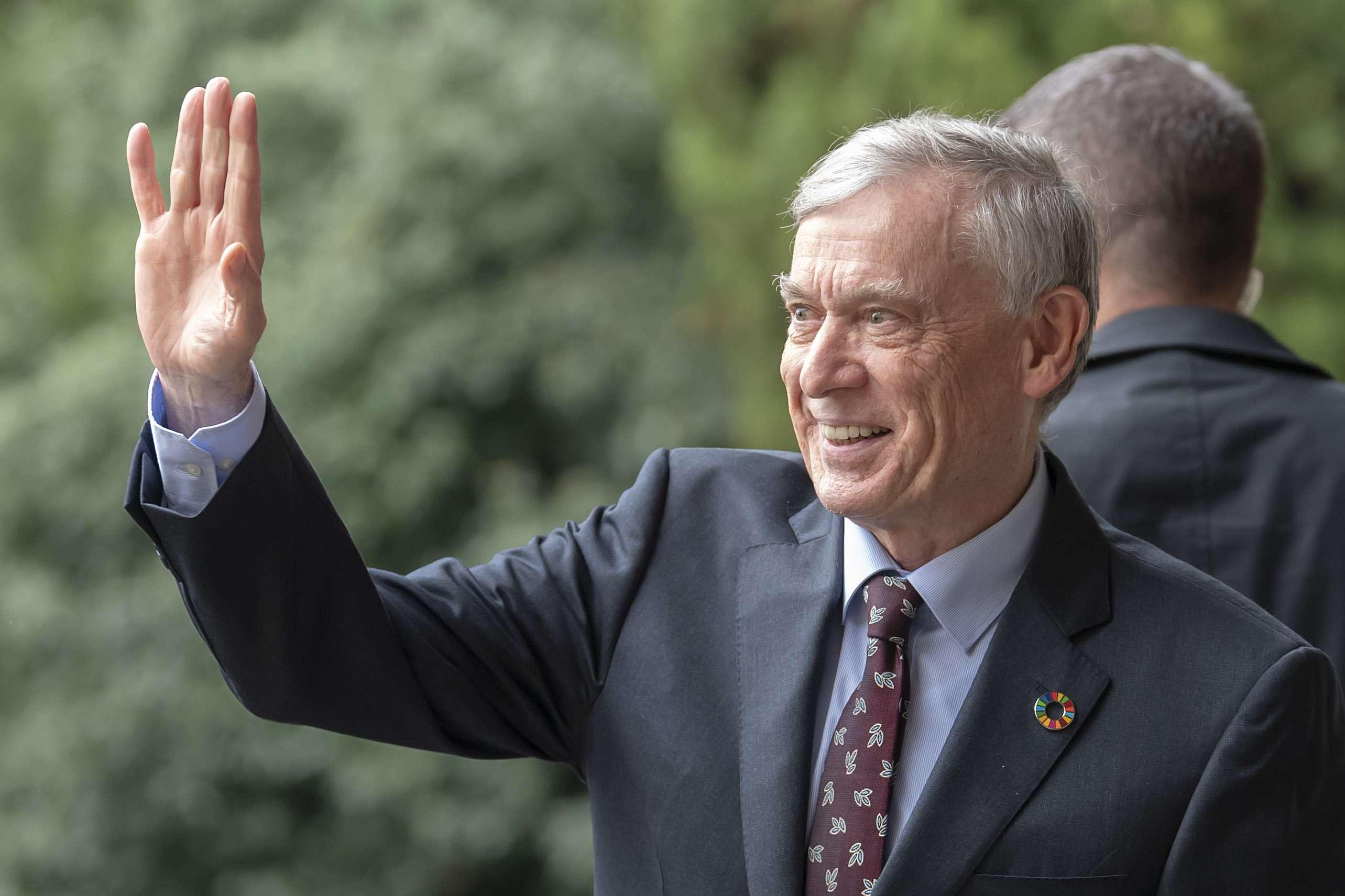 L'envoyé spécial des Nations unies pour le Sahara occidental, Horst Köhler, arrivant à Genève le 5 décembre 2018.
