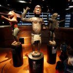 Statues royales volées en 1892 lors du sac d'Abomey, capitale de l'ex-Dahomey (Bénin), exposées au Musée du quai Branly, à Paris.
