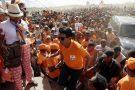 Andry Rajoelina devant ses partisans lors d'un rassemblement électoral à Antananarivo, à Madagascar, le lundi 17 décembre 2018.