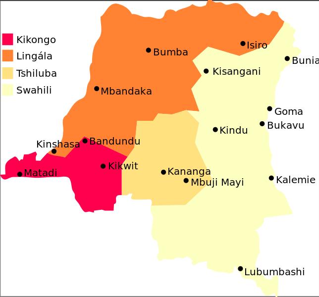 La carte schématique des aires linguistiques en RDC.