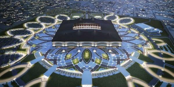 Vue de synthèse du futur Al Bayt Stadium pour la Coupe du monde 2022, au Qatar.