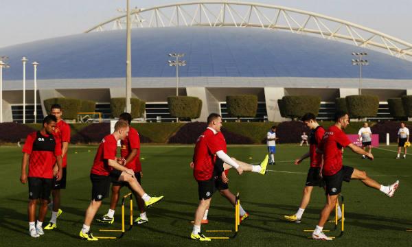 L'équipe de Manchester United en camp d'entraînement à l'Aspire Academy, le 21 janvier 2013.