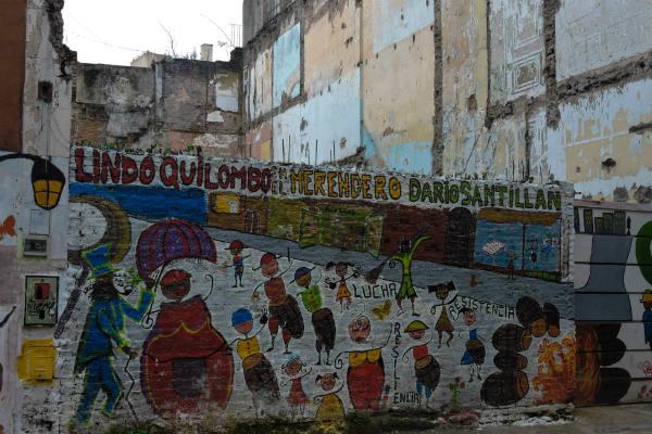 Peinture murale dans l'ancien quartier du tambour (aujourd'hui Monserrat) en plein centre de Buenos Aires où autrefois les rues vibraient au rythme du carnaval.