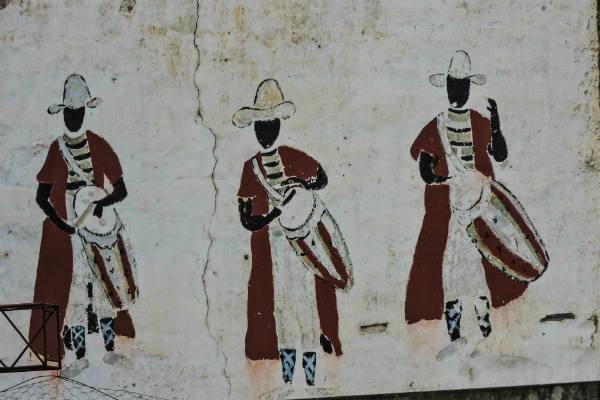 Peinture murale dans l'ancien quartier du tambour (aujourd'hui Monserrat), à Buenos Aires, représentant le carnaval, vieille tradition afro-argentine.