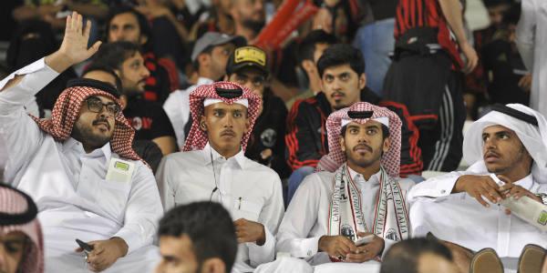 Des supporteurs qataris lors du match de Supercoupe d'Italie opposant la Juventus de Turin au Milan AC, le 23 décembre 2016 au Al Sadd Sports Club, à Doha, au Qatar.