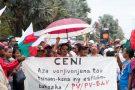 Des partisans de l'ex-chef de l'État Marc Ravalomanana manifestent à Antananarivo, le 2 janvier 2019.