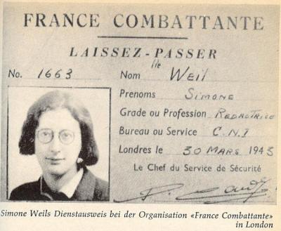 Le laissez-passer de Simone Weil comme rédactrice au service de la France libre en 1943.