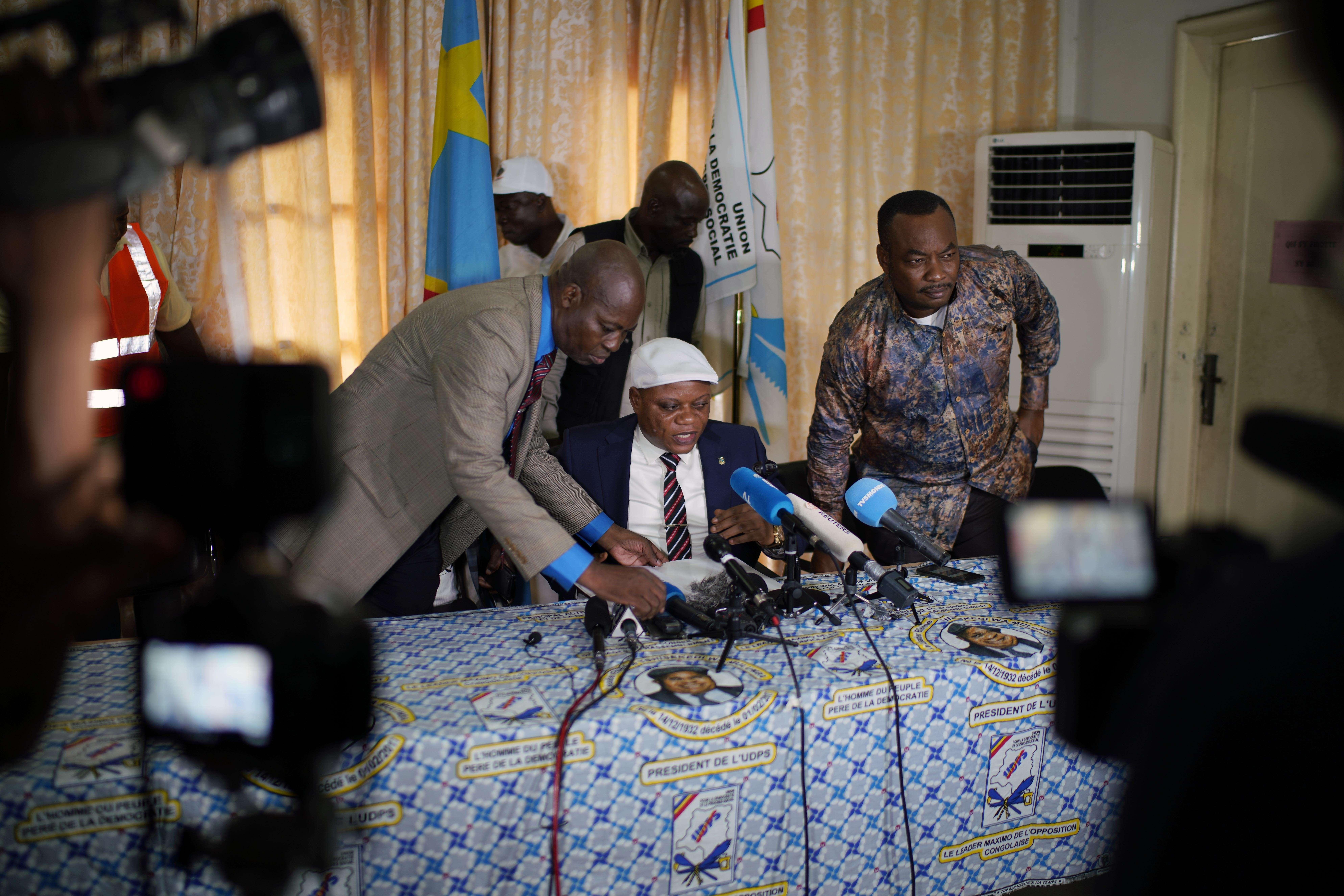 Jean-Marc Kabund, secrétaire général de l'UDPS, lors d'un point presse à Kinshasa le 7 janvier.
