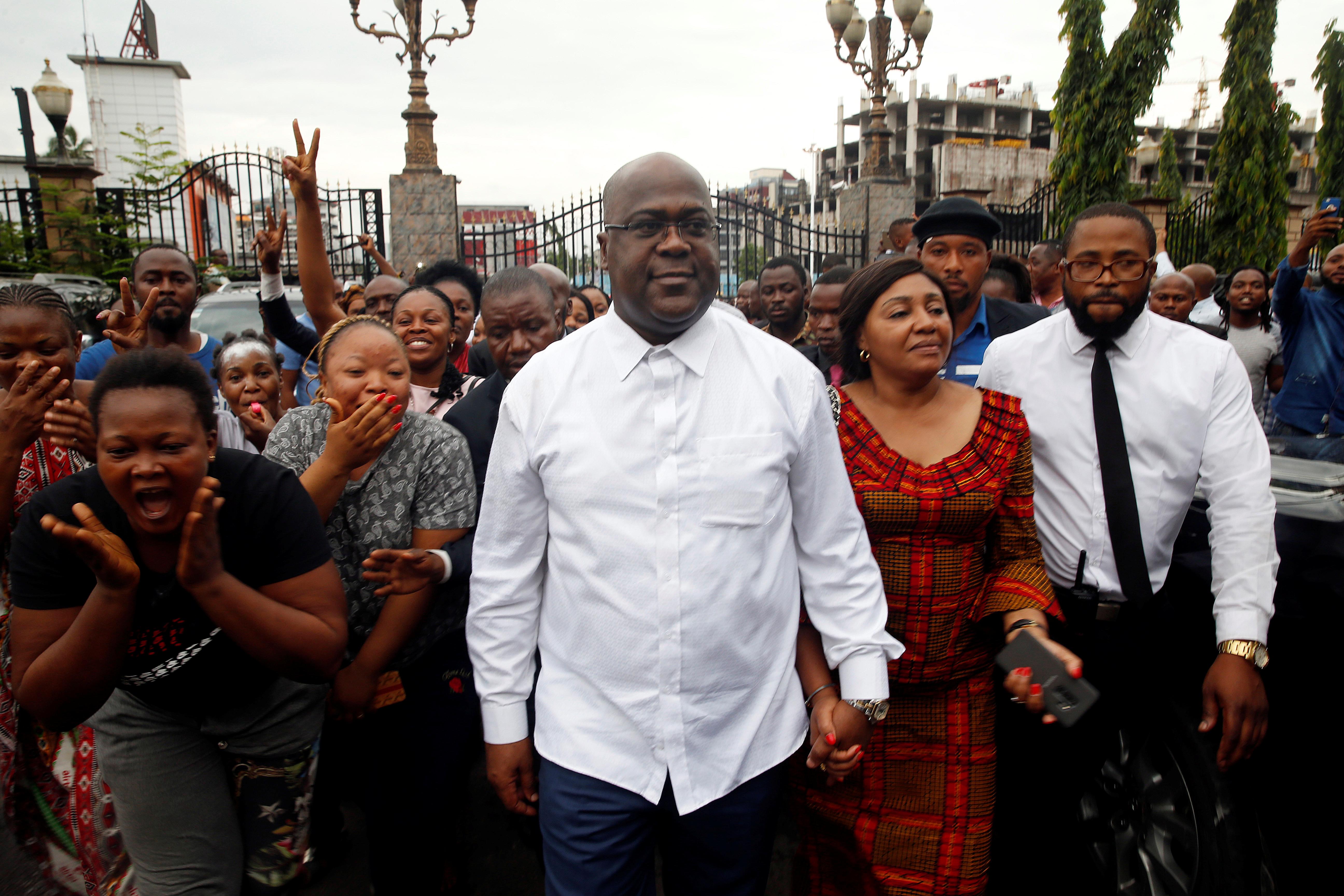 Félix Tshisekedi, le leader de l'UDPS, a été donné vainqueur de la présidentielle par les résultats provisoires de la Ceni, le 10 janvier 2019 à Kinshasa