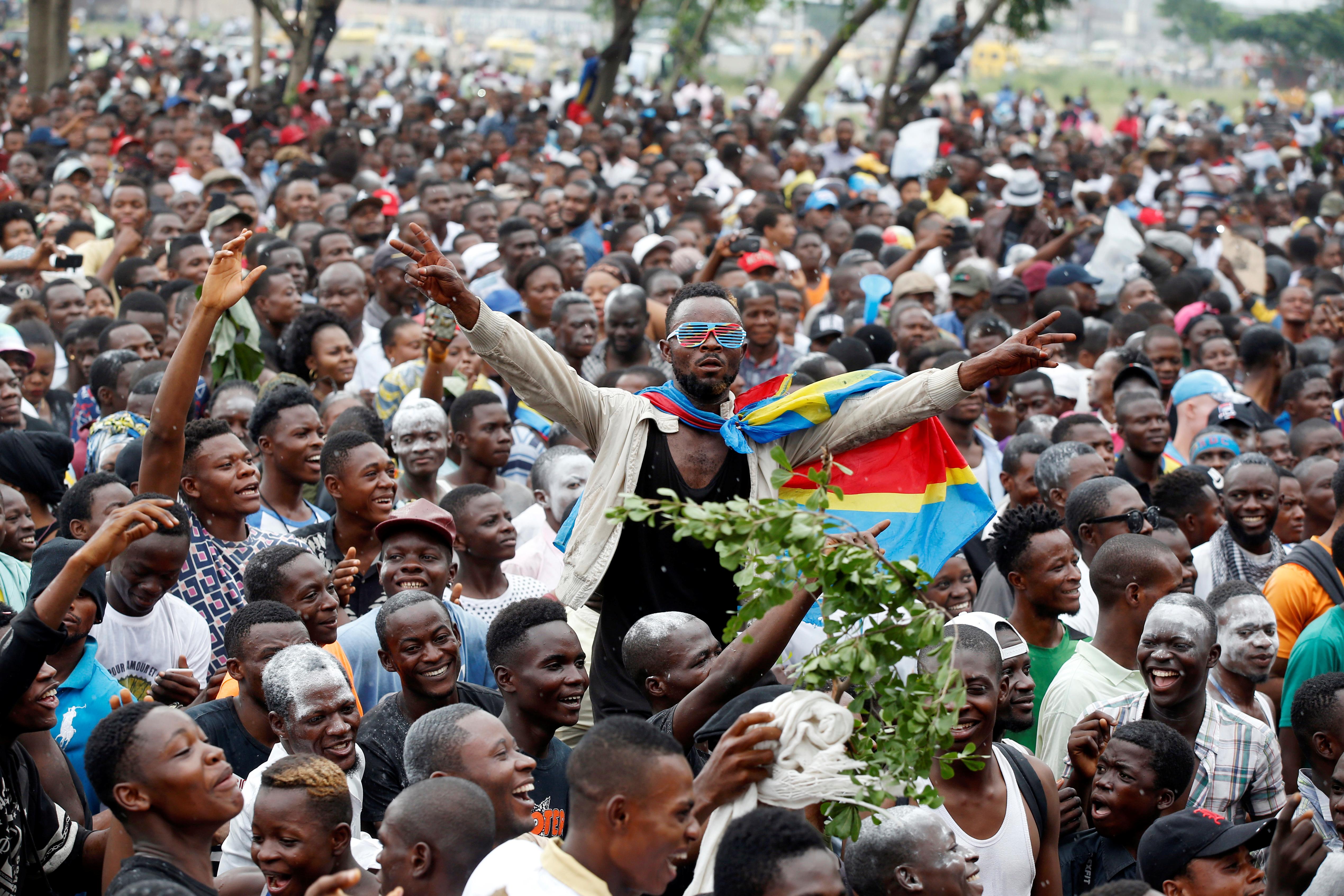 Des supporters de Felix Tshiseked le 10 janvier 2019.