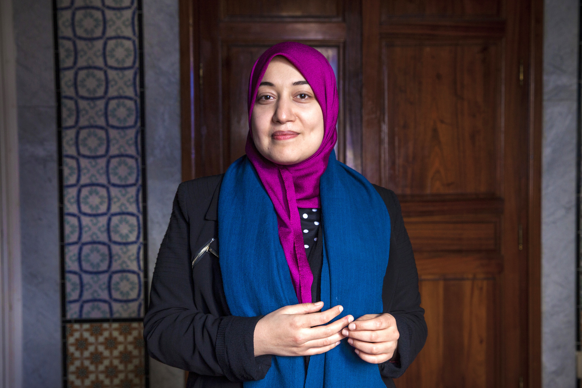 Tunisia, Tunis : Sayida Ounissi the deputy of Ennahdha party poses in the Assembly of People's Representatives (ARP) in Bardo on 16 March 2015. Ons Abid for JA
