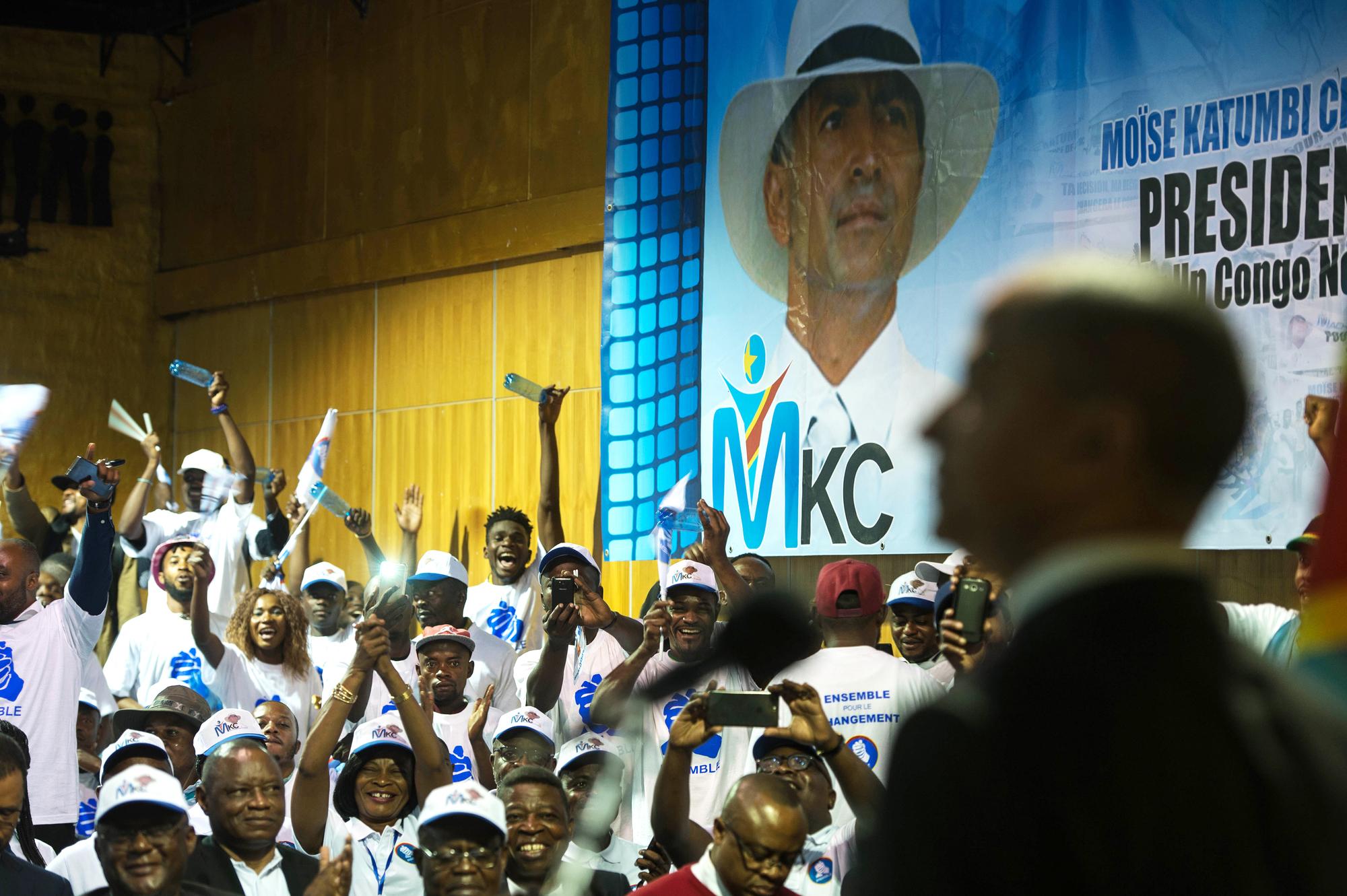Meeting de soutien à Moïse Katumbi dans un hôtel de Johannesburg (Afrique du Sud), le 12mars 2018.