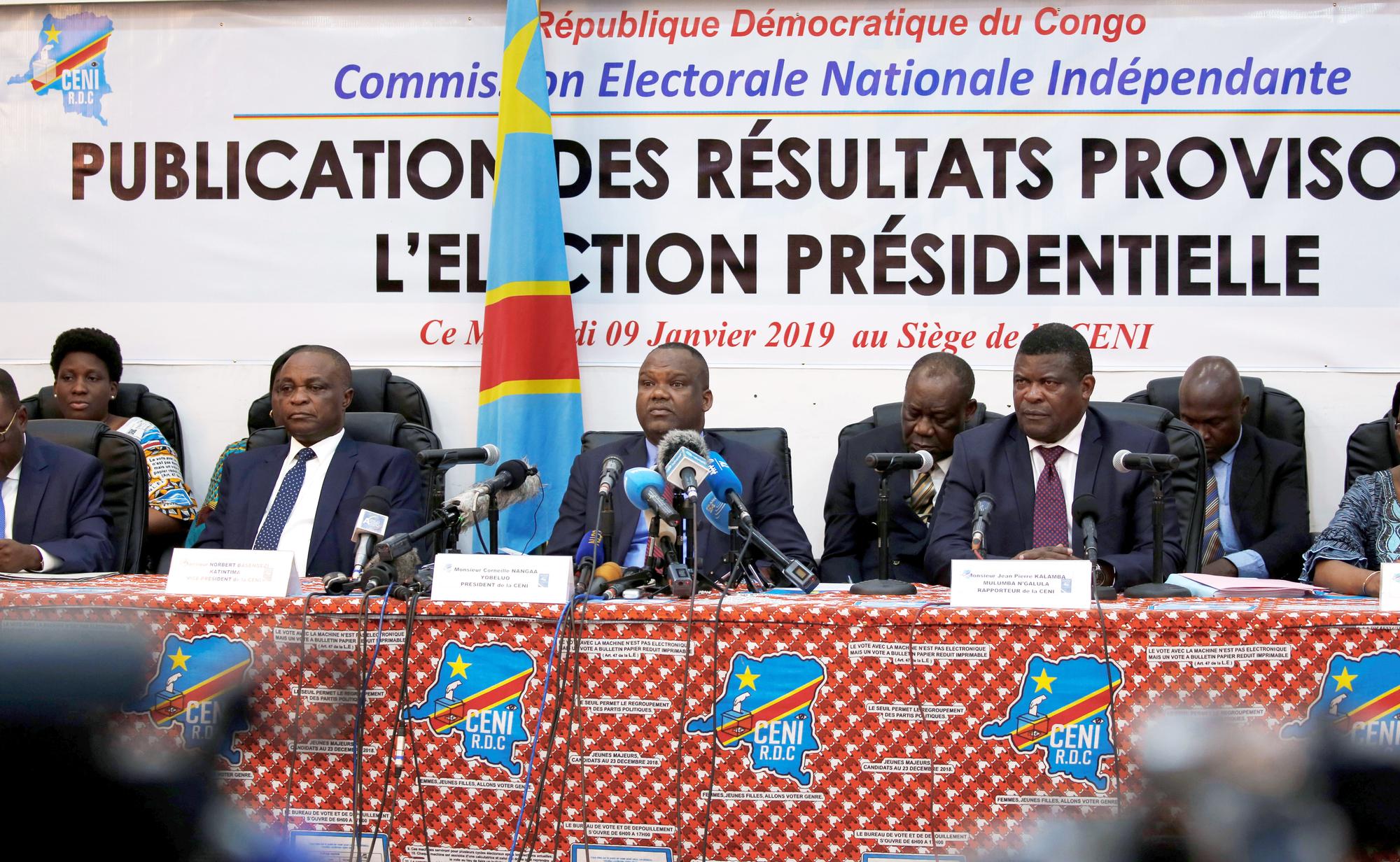 La Ceni lors de l'annonce des résultats, à Kinshasa.