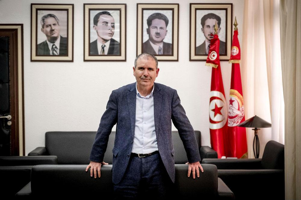 Noureddine Taboubi, dans son bureau au siège historique de l'UGTT, place Mohamed-Ali, à Tunis.