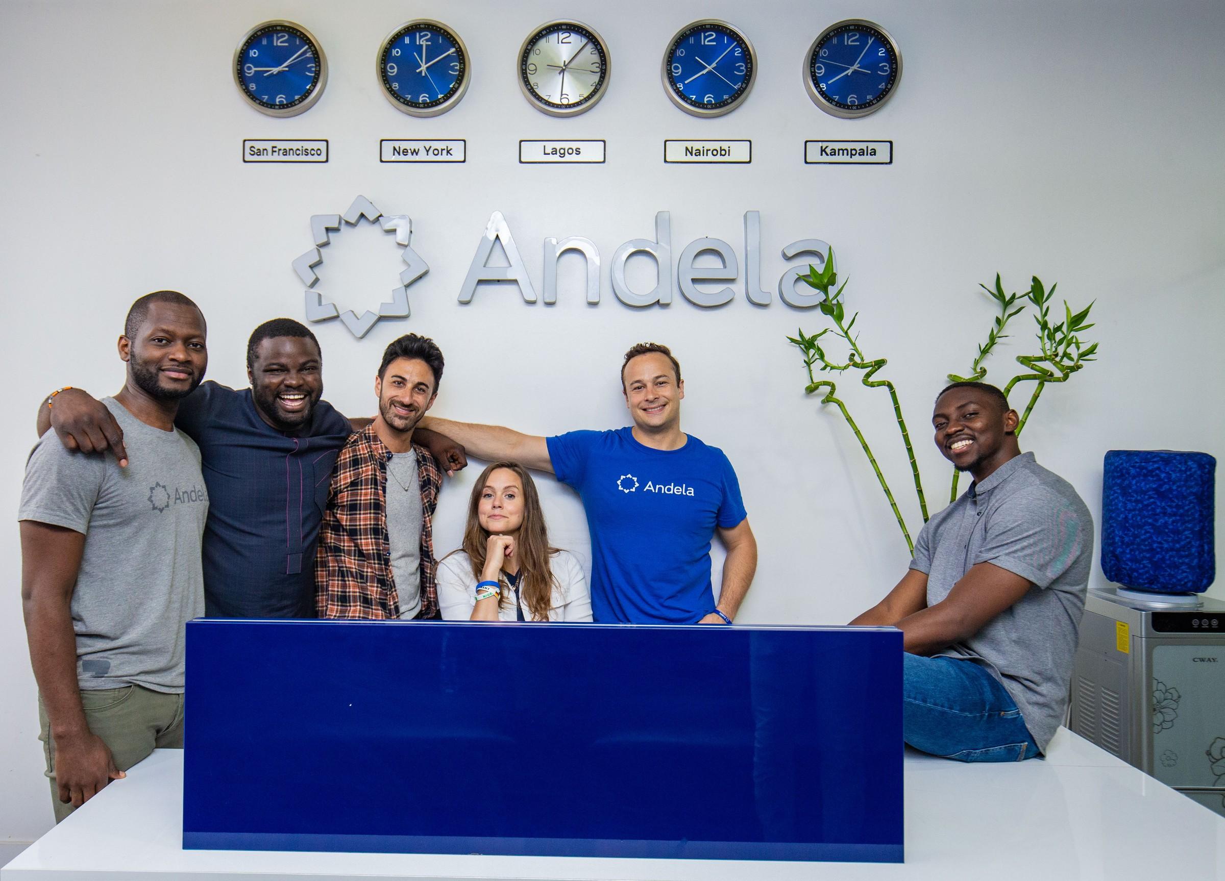 Les six fondateurs d'Andela (de gauche à droite): Brice Nkengsa, Iyinoluwa Aboyeji, Ian Carnevale, Christina Sass, Jeremy Johnson, Nadayar Enegesi.