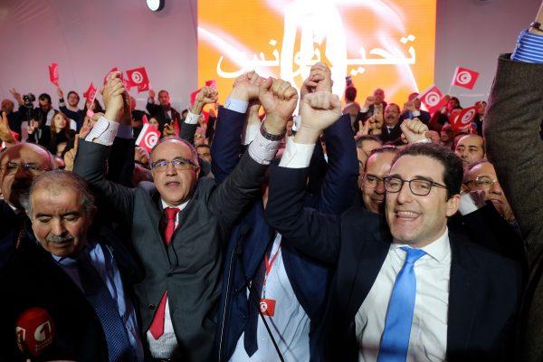 Au lancement du nouveau parti Tahya Tounes (Vive la Tunisie), le 27 janvier à Monastir, avec notamment Selim Azzabi à droite.