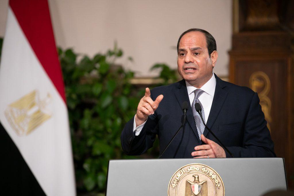 Abdel Fattah Al-Sissi lors de la conférence de presse avec Emmanuel Macron, lundi 28 janvier au Caire.