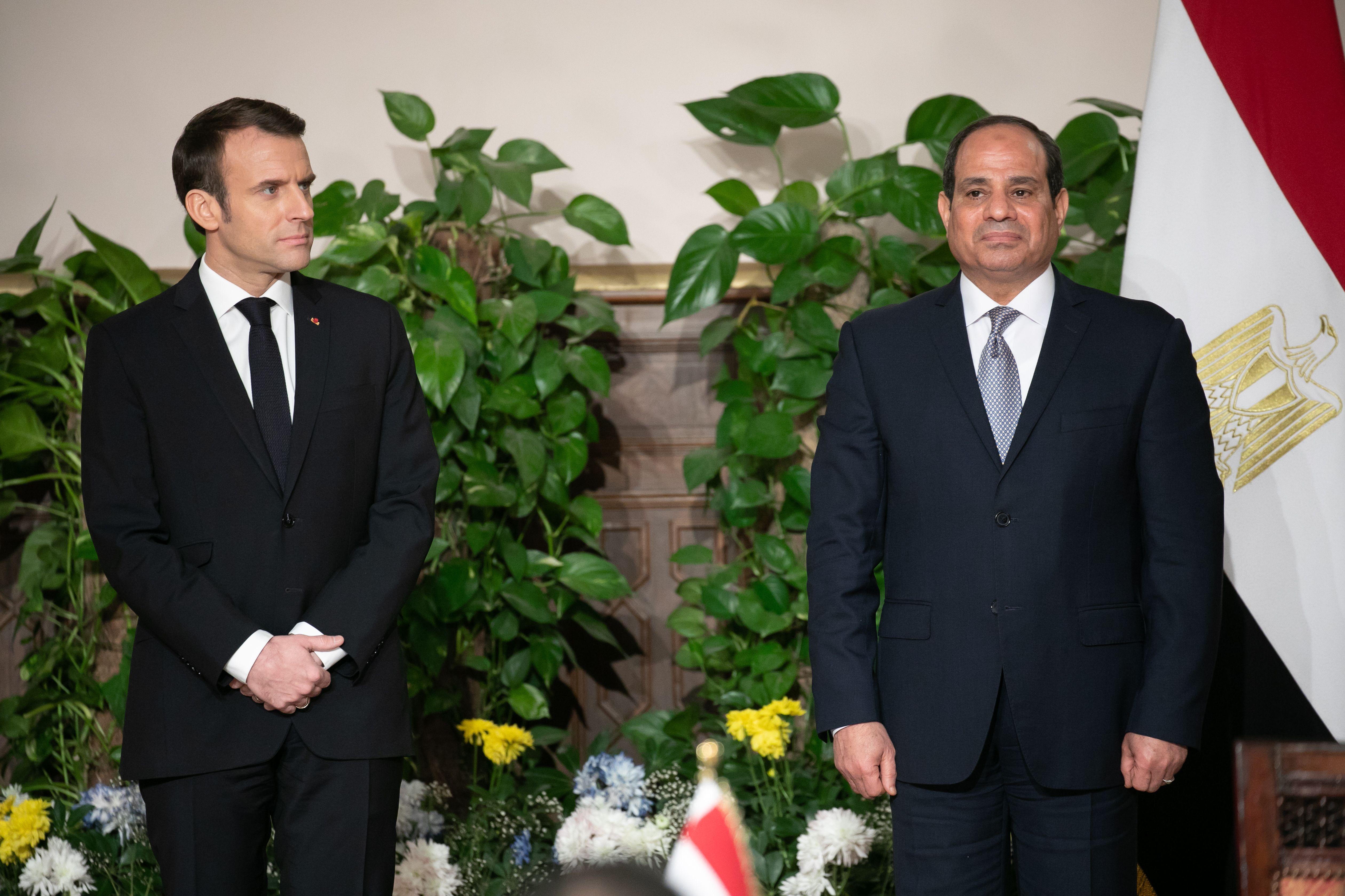 Emmanuel Macron et Abdel Fattah Al-Sissi, lors de leur conférence de presse commune, au Caire le lundi 28 janvier.