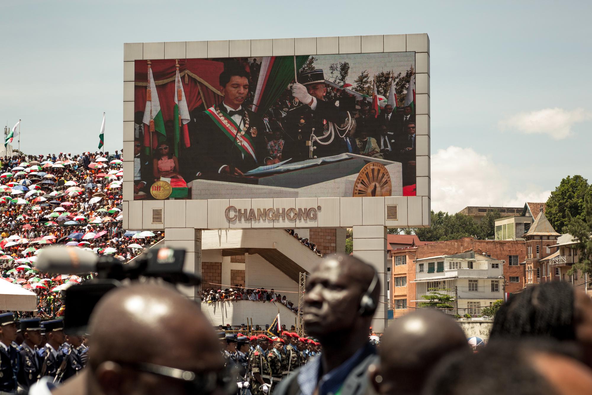 Cérémonie d'investiture au stade de Mahamasina, à Antananarivo, le 19janvier.