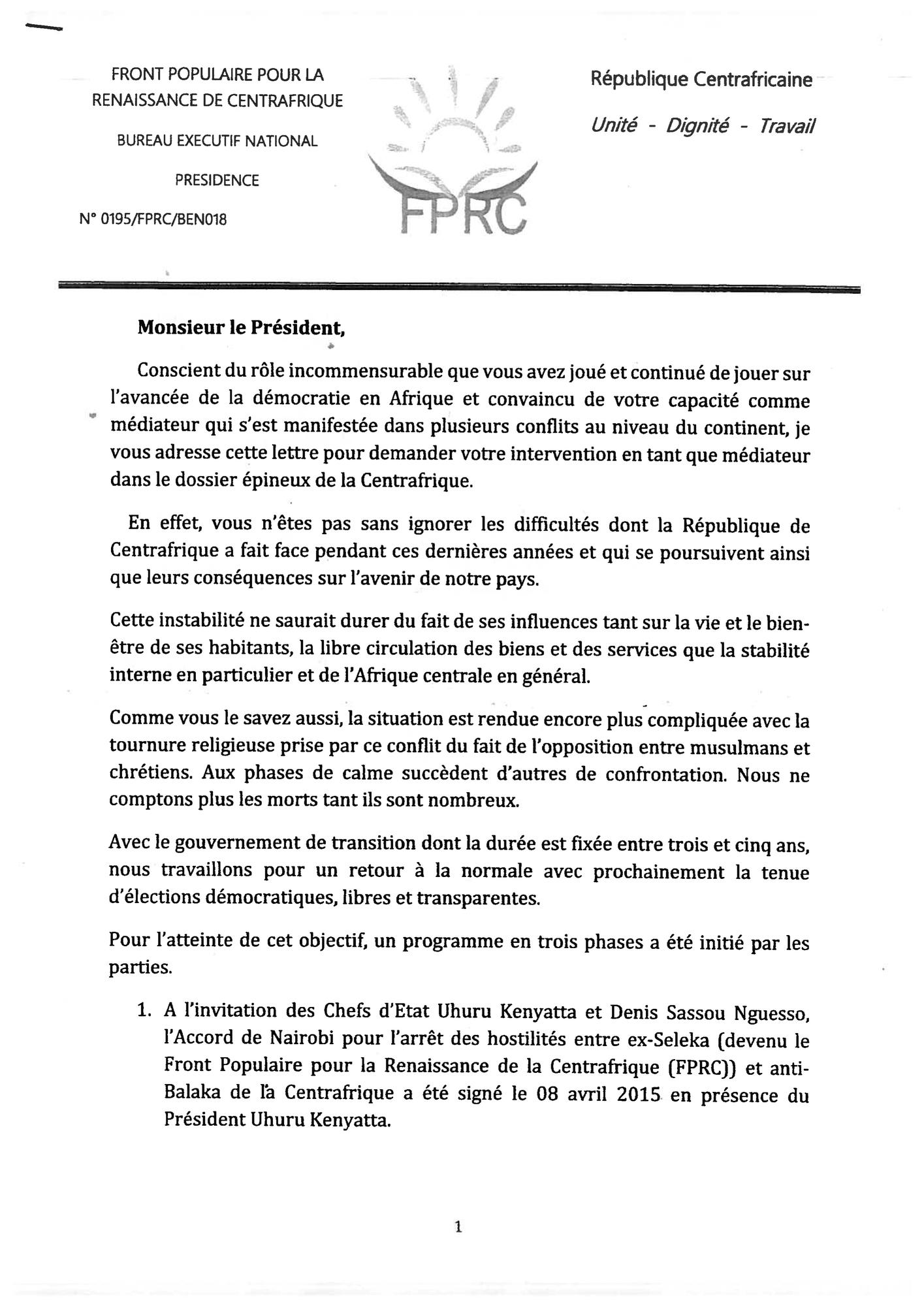 3818b8d4e4c Document  Centrafrique   ce que Nourreddine Adam a écrit à Emmanuel ...