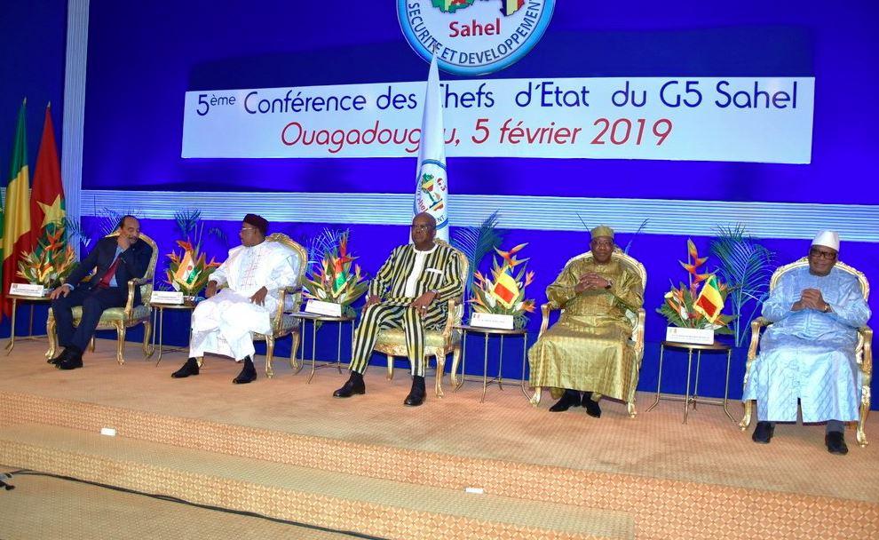 Les présidents des cinq pays membres du G5 Sahel, réunis mardi 5 février 2019 à Ouagadougou.