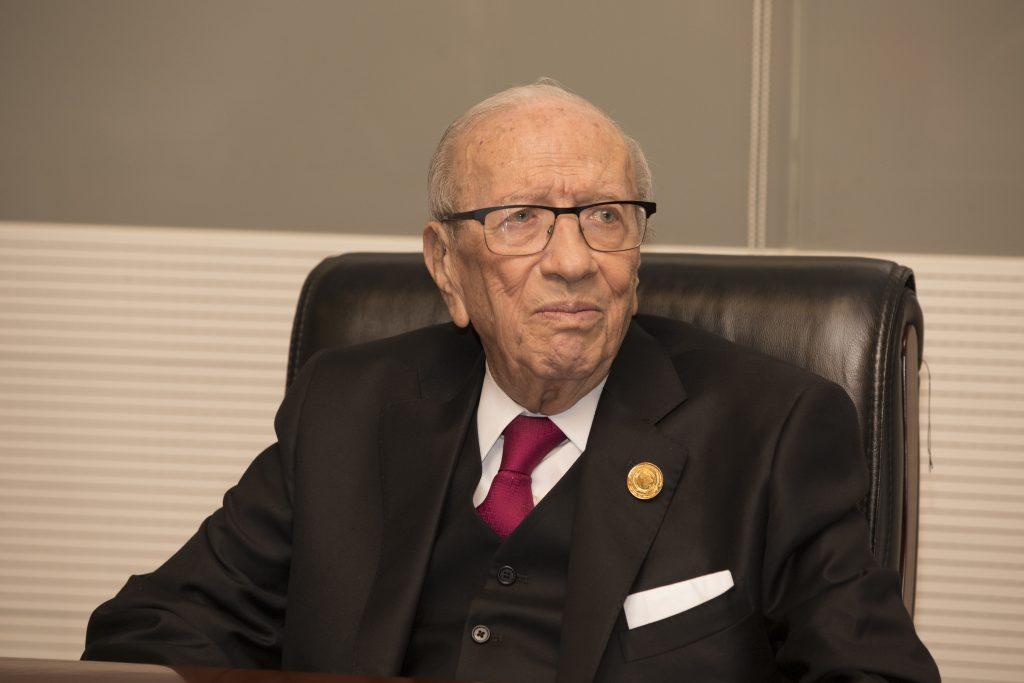 Béji Caïd Essebsi, lors d'une rencontre avec la presse en marge du 32e sommet de l'UA, le 10 février 2019 (image d'illustration).