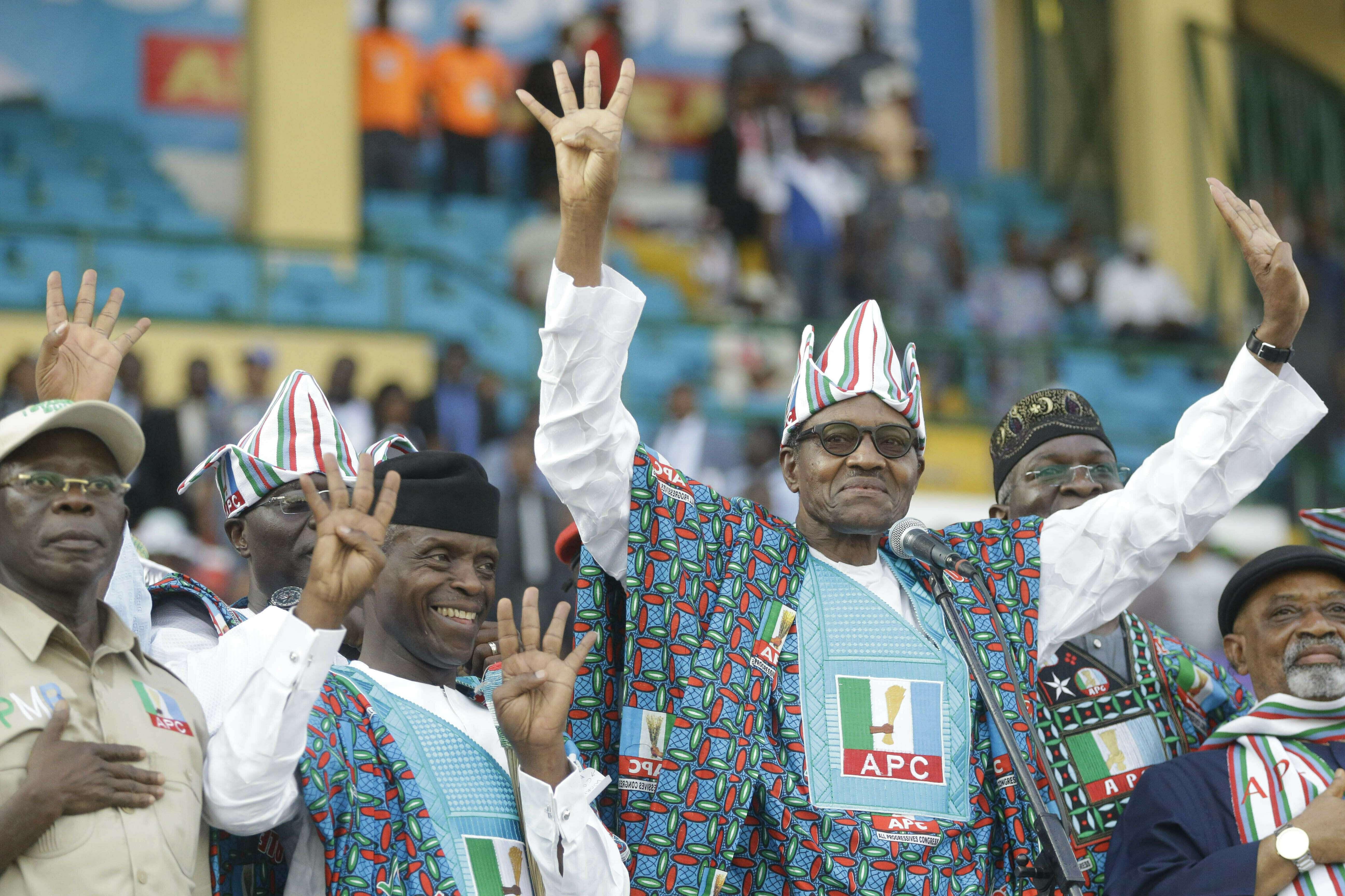 Le président nigérian Muhammadu Buhari lors d'une manifestation à Lagos, au Nigeria, le 9 février 2019.