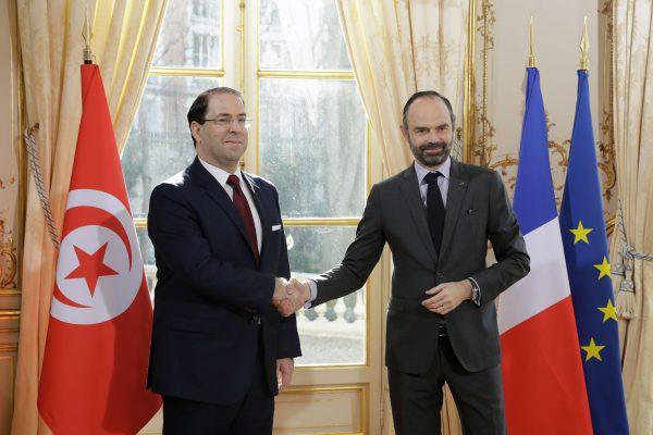 Youssef Chahed, chef du gouvernement tunisien, et son homologue, le Premier ministre Édouard Philippe, à l'Hôtel de Matignon jeudi 14 février 2019.