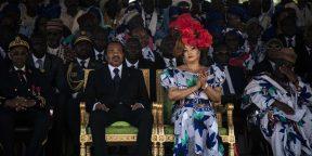 Paul et Chantal Biya au stade de Maroua, le 29septembre 2018.