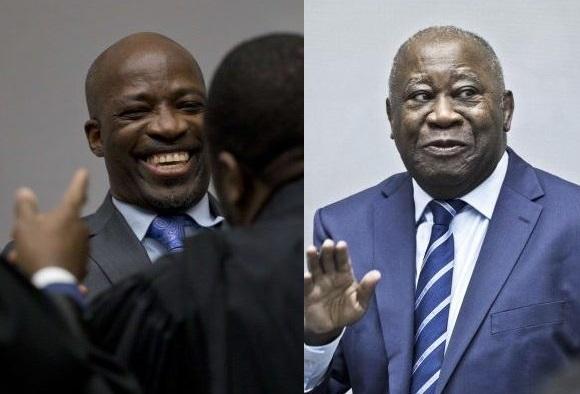 Charles Blé Goudé et Laurent Gbagbo (à d.) à LaHaye, le 15janvier 2019, le jour de leur acquittement.