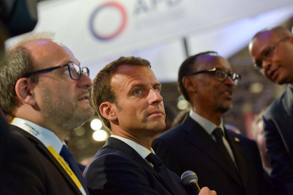 Emmanuel Macron et Paul Kagame, lors du Viva Technology, à Paris, en mai 2018.