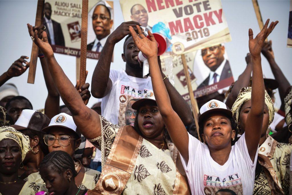 Lors d'un meeting de Macky Sall à Guediawaye, le 20 février 2019 dans la banlieue de Dakar.