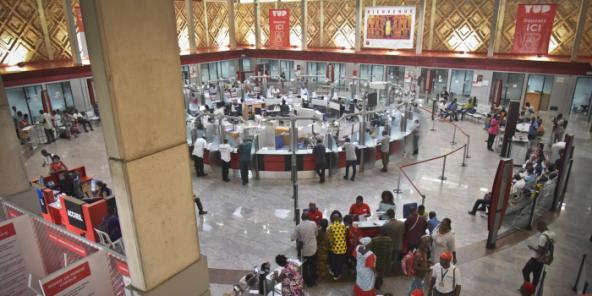 Au siege de la Société générale de banque en Côte d'Ivoire (SGBCI), le 10 décembre 2018 à Abidjan.