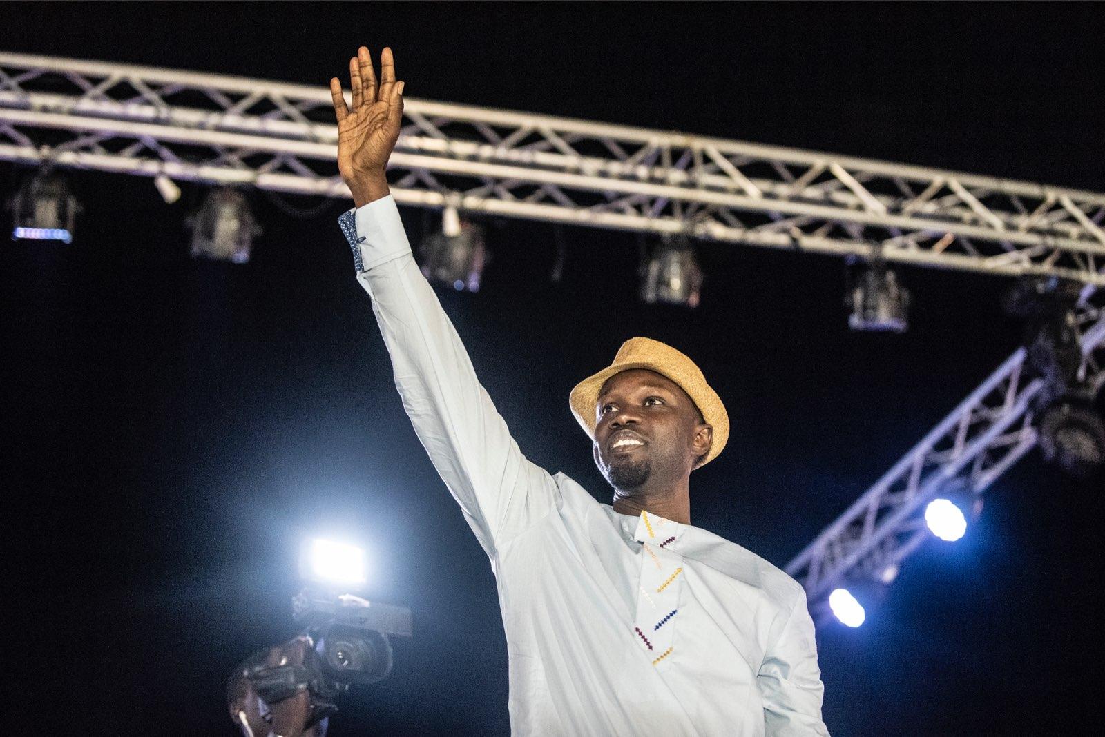 Ousmane Sonko en meeting à Pikine le 21 février 2019.