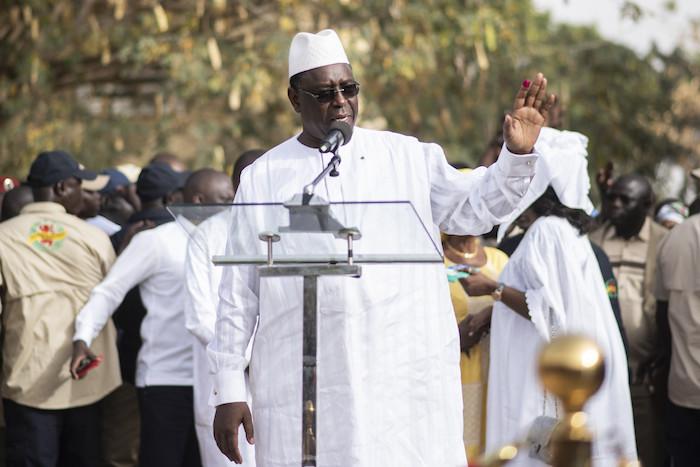 Macky Sall, après avoir voté à l'école Thierno Mamadou Sall à Fatick, le 24 février 2019.