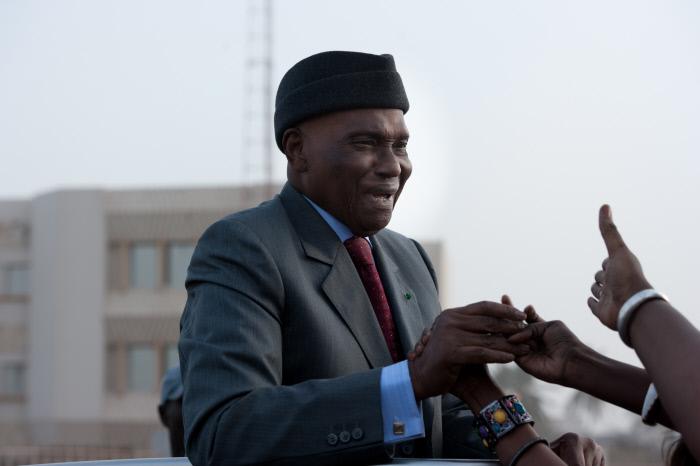 Abdoulaye Wade lors de sa première apparition publique à Dakar dans le cadre de la campagne électorale de 2012, le 7 Février 2012 à Dakar.