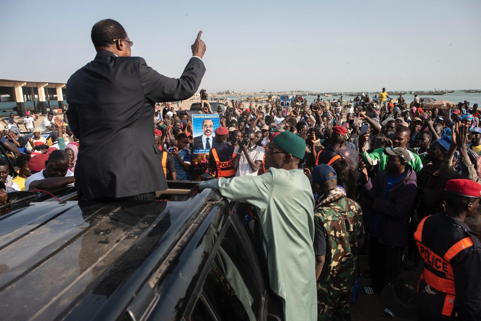 Arrivée de Madické Niang à l'un de ses meetings pour la présidentielle 2019.