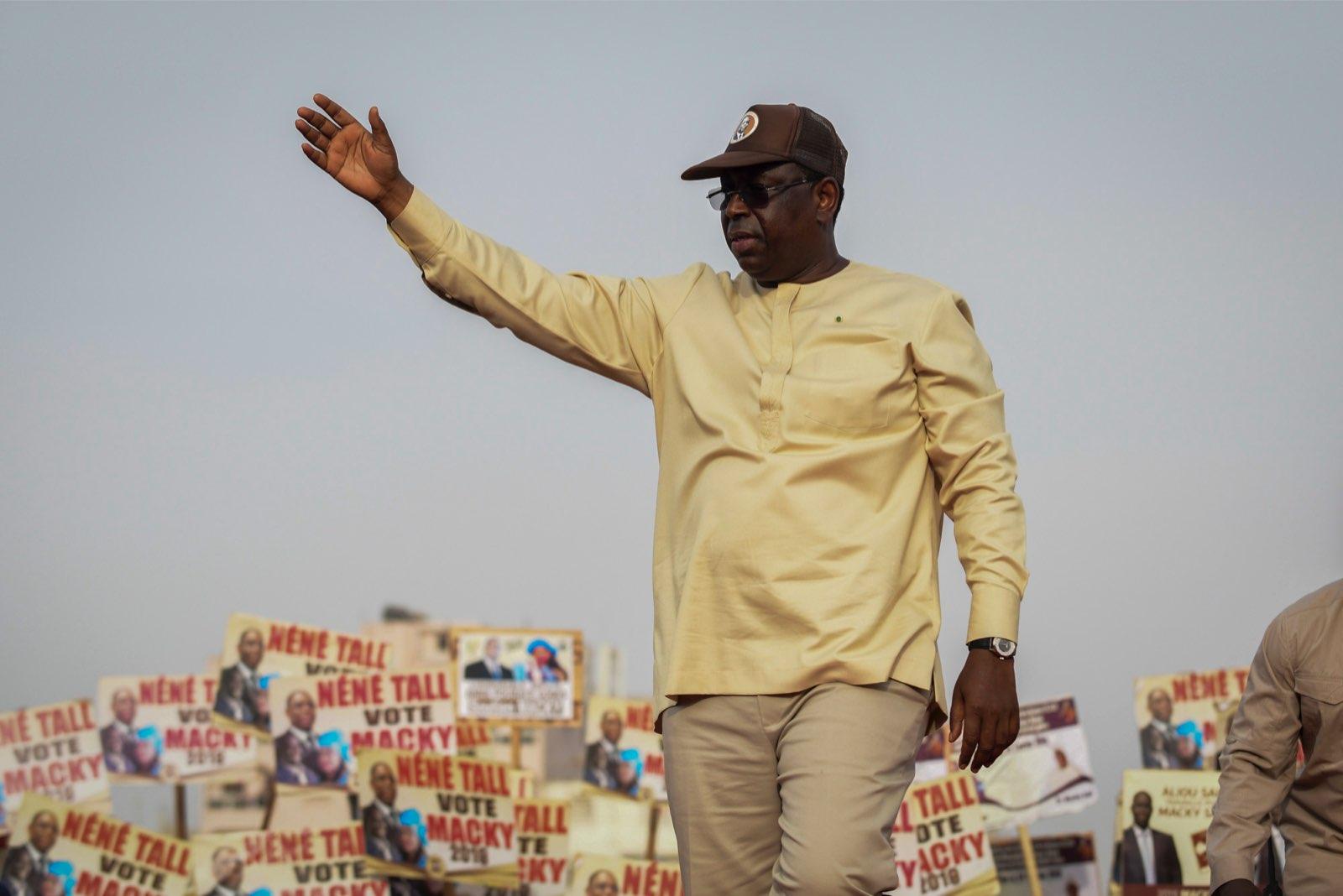 Macky Sall, lors d'un meeting dans la banlieue de Dakar.