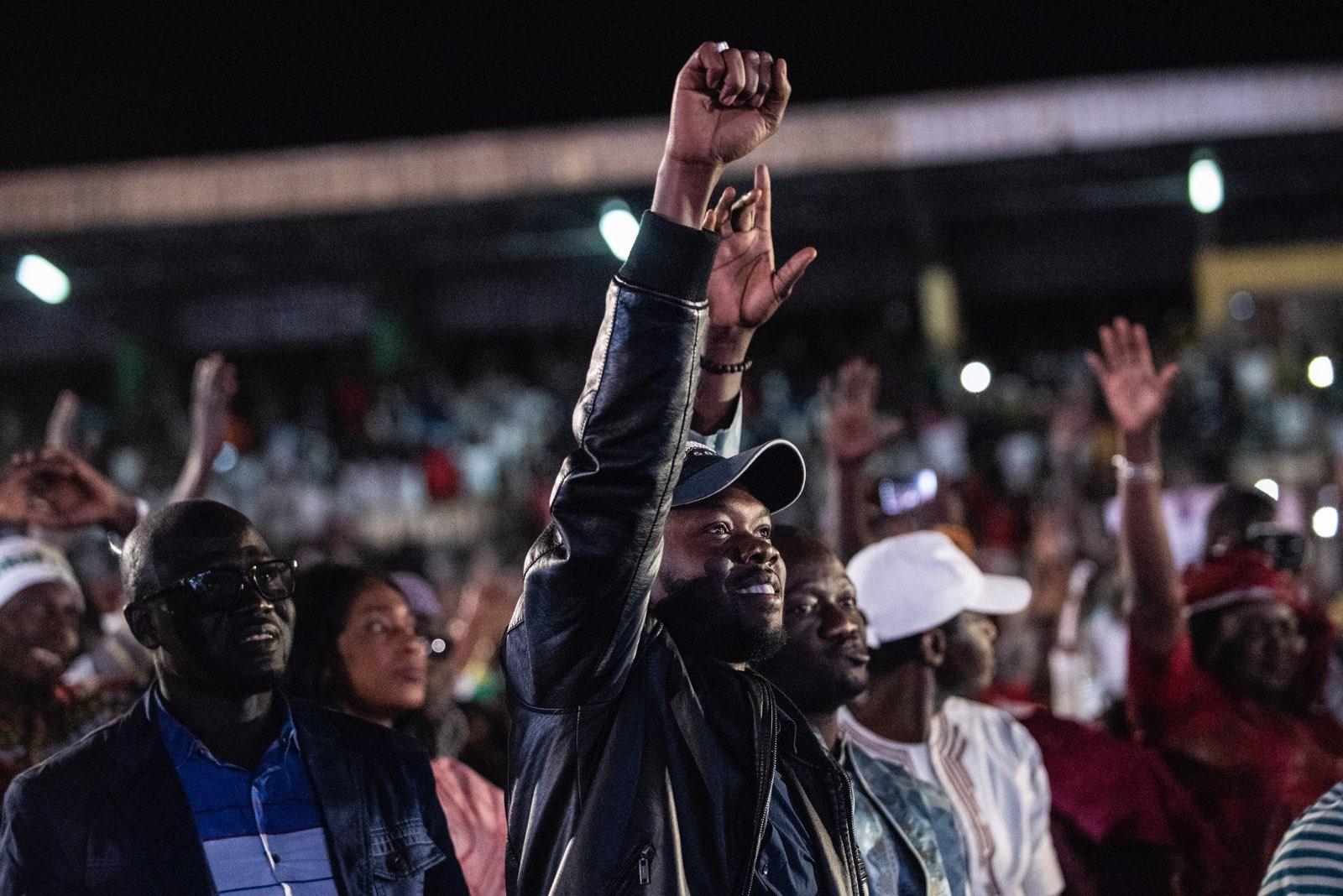 Lors d'un des derniers meeting d'Ousmane Sonko, candidat du Pastef à la présidentielle sénégalaise.