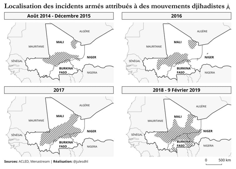 Les mouvements djihadistes en question sont les suivants : Al-Qaeda au Maghreb islamique, Ansar Dine, Mouvement pour l'unicité du jihad en Afrique de l'Ouest, Al-Morabitoune, Groupe de soutien à l'islam et aux musulmans, État islamique au Grand Sahara, Ansaroul Islam.