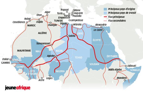 Les chemins migratoires en Libye.