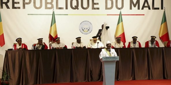 Mali's President Ibrahim Boubacar Keita speaks at his presidential inauguration ceremony in Bamako, Mali September 4, 2018. REUTERS/Annie Risemberg - RC1C59140BC0