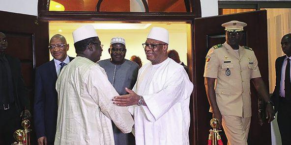 Au Palais de Koulouba, le 26février 2019. Premier tête-à-tête entre Ibrahim Boubacar Keïta et Soumaïla Cissé,le chef de file de l'opposition, depuis la présidentielle.
